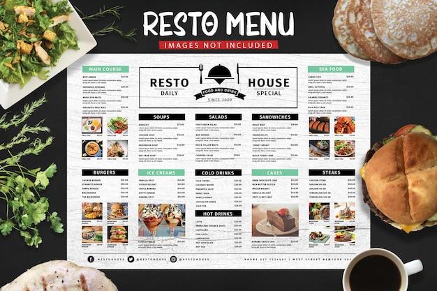 Menu restauracji typografii