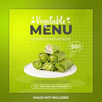 Menu warzywne szablon postu na instagramie i post w mediach społecznościowych