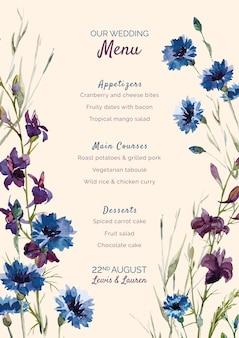 Menu weselne z fioletowymi i niebieskimi kwiatami