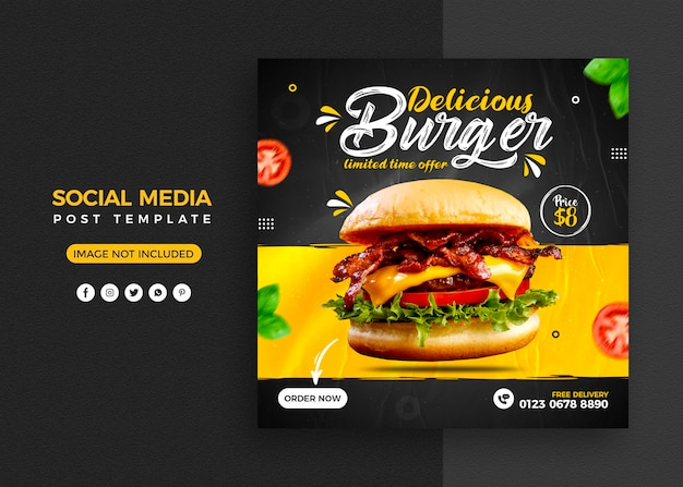 Menu z jedzeniem burgera i post w mediach społecznościowych restauracji i szablon banera na instagramie