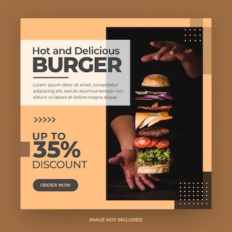 Menu z jedzeniem burgera instagram i szablon banera postu w mediach społecznościowych