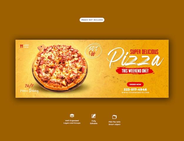 Menu z jedzeniem i pyszna pizza szablon banera na okładkę na facebooku