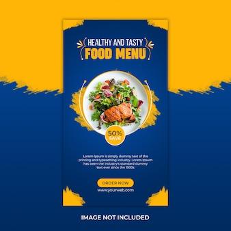 Menu zdrowej żywności i szablon historii instagram restauracji