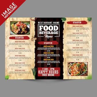 Menu żywności i napojów potrójny szablon broszury