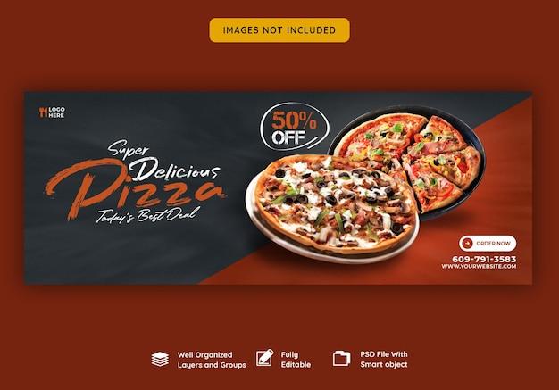 Menu żywności i pyszna pizza na facebooku szablon transparentu okładki