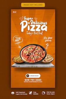 Menu żywności i pyszna pizza szablon historii na instagramie i facebooku
