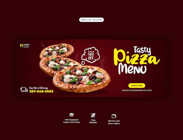 Menu żywności i pyszna pizza szablon transparent okładka facebook