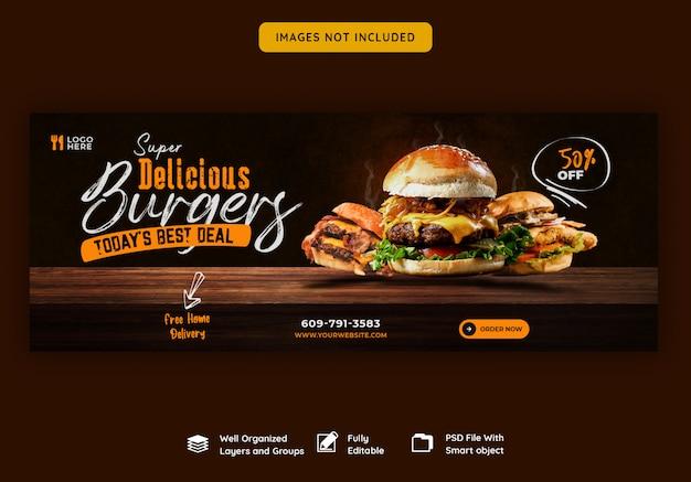 Menu żywności i pyszny szablon okładki na burgera na facebooku