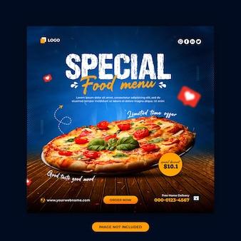 Menu żywności i restauracja w mediach społecznościowych i projekt banera internetowego