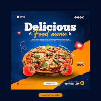 Menu żywności i restauracja w mediach społecznościowych post i szablon projektu banera internetowego