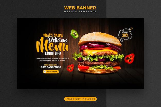 Menu żywności i szablon banera internetowego pysznego burgera