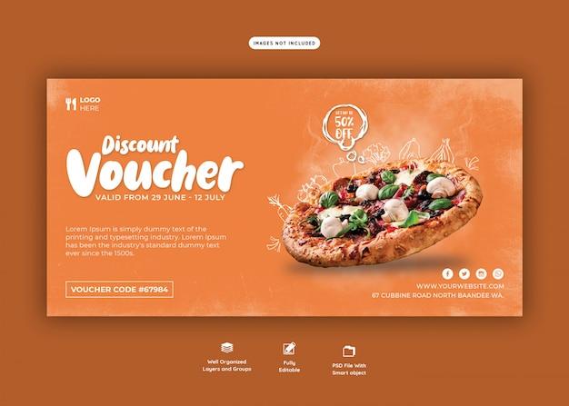 Menu żywności i szablon kupon na pyszne pizze