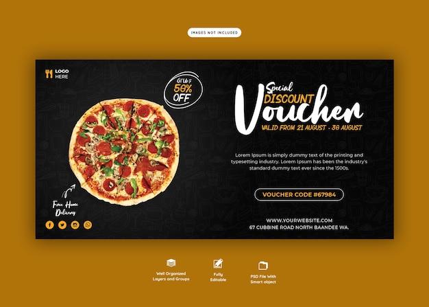 Menu żywności i szablon kuponu prezentowego pysznej pizzy