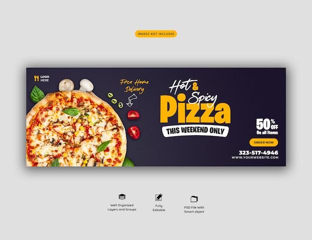 Menu żywności i szablon okładki mediów społecznościowych pysznej pizzy