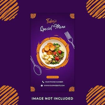 Menu żywności promocja instagram historie szablon transparent