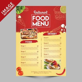 Menu żywności w restauracji