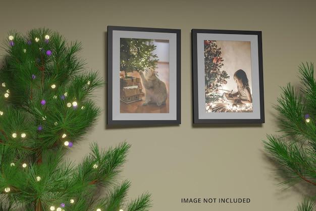 Merry christmas day concept ramka na zdjęcia makieta premium psd
