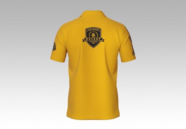 Męska koszulka polo z krótkim rękawem makieta z tyłu
