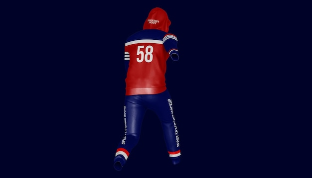 Męska odzież sportowa z kapturem i spodniami makieta