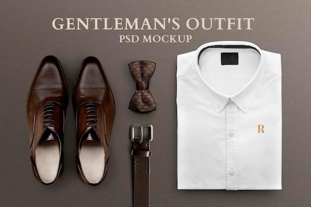 Męski strój formalny makieta psd składany pasek koszulowy i skórzane buty
