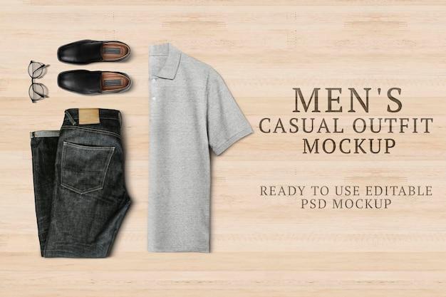 Męski strój na co dzień makieta psd z koszulką polo i prostymi dżinsami