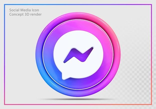 Messenge icon 3d render nowoczesny