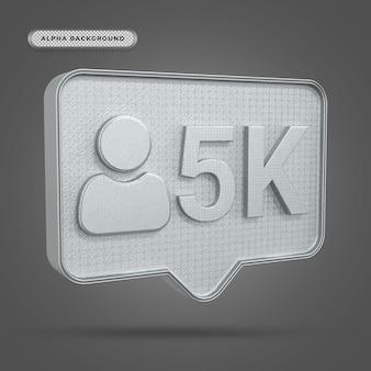 Metaliczna ikona obserwujących 5k na instagramie w renderowaniu 3d