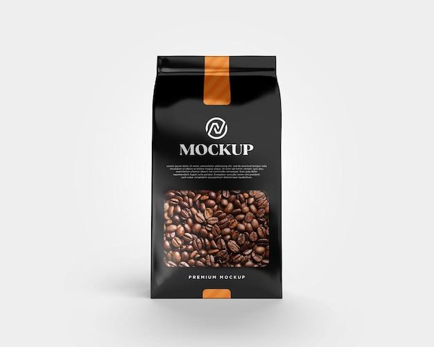 Metaliczna torba z makietą ziaren kawy, widok z przodu