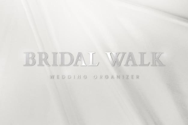 Metaliczny srebrny szablon logo psd dla organizatora ślubu