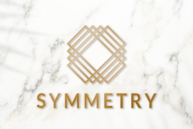 Metaliczny złoty szablon logo psd do brandingu biznesowego