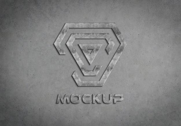 Metalowe logo 3d na betonowej ścianie makieta