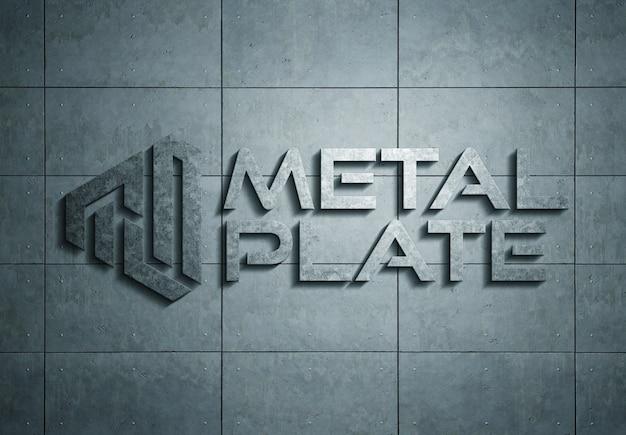 Metalowe logo na talerzu mockup