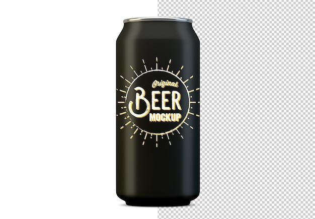 Metalowe piwo może makieta na białym tle