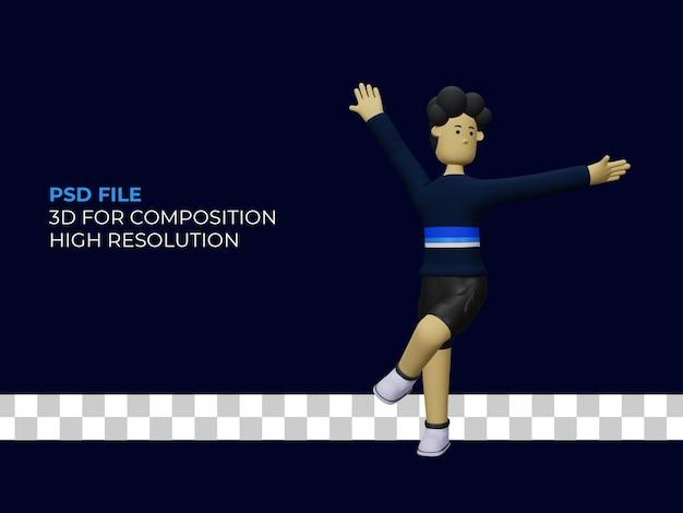 Mężczyzna 3d ilustracja tańca postaci premium psd