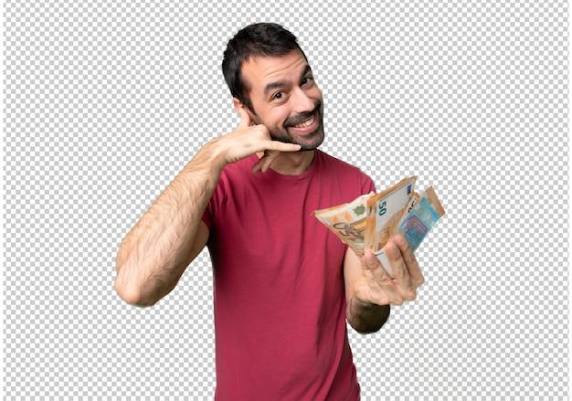 Mężczyzna bierze mnóstwo pieniądze robi telefonowi gestykulować. zadzwoń do mnie z powrotem