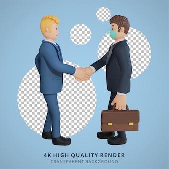 Mężczyzna biznesmen w masce spotykający się z ilustracją postaci współpracownika renderowanie 3d
