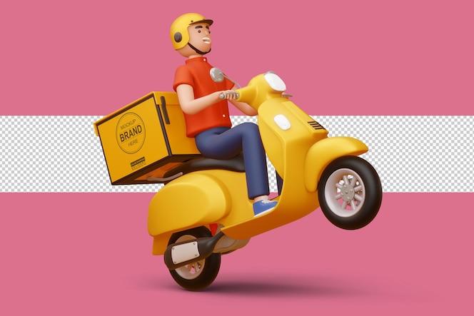 Mężczyzna dostawy jedzie na motocyklu z pudełkiem dostawy w renderowaniu 3d