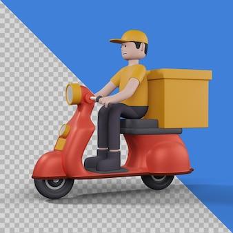 Mężczyzna dostawy ze skuterem w izolowanym projekcie ilustracji 3d