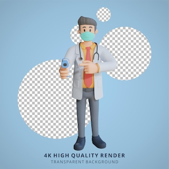 Mężczyzna lekarz w masce przedstawiający ilustrację postaci 3d na tablicy