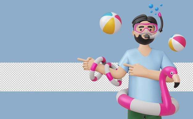 Mężczyzna noszący maskę do nurkowania w flamingowym pierścieniu pływackim z akcesoriami plażowymi