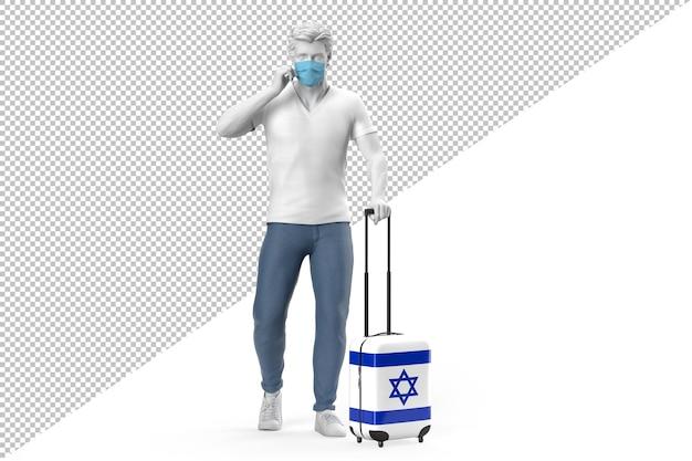 Mężczyzna noszący maskę wyciąga walizkę z teksturą flagi izraela