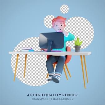 Mężczyzna pracuje przed komputerem i pije kawę wysokiej jakości renderowania 3d