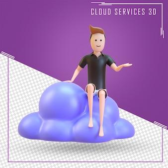 Mężczyzna siedzący na usługach w chmurze