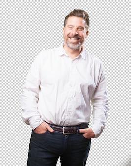 Mężczyzna w średnim wieku, uśmiechając się