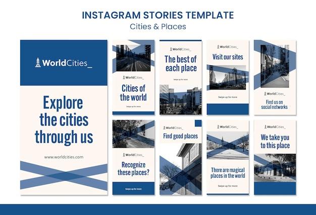 Miasta i miejsca szablon historii na instagramie