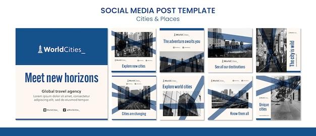 Miasta i miejsca szablon postów w mediach społecznościowych