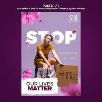 Międzynarodowy dzień eliminacji przemocy wobec kobiet plakat szablon a4