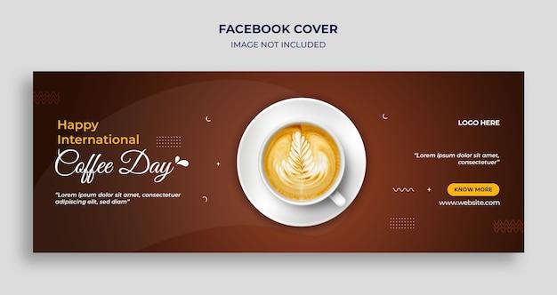 Międzynarodowy dzień kawy na facebooku osłona czasu i szablon banera internetowego