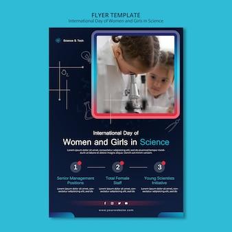 Międzynarodowy dzień kobiet i dziewcząt w szablonie wydruku naukowego