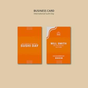 Międzynarodowy dzień sushi pionowe wizytówki szablon